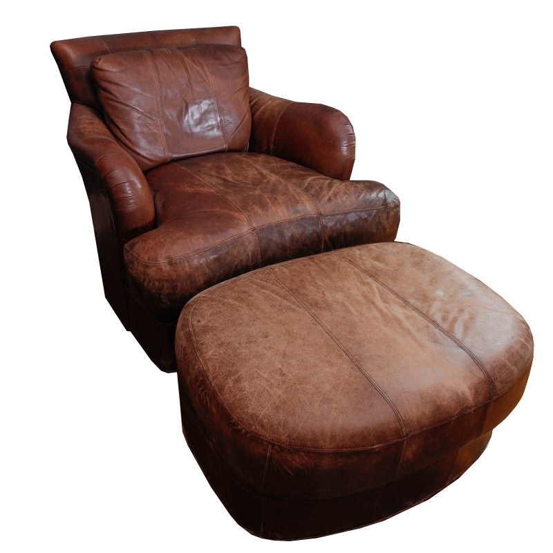 Leather Armchair and Ottoman by Ferguson Copeland Ltd.