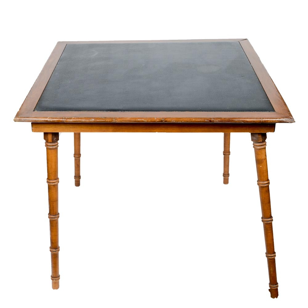 Vintage Folding Card Table With Leather Top ...
