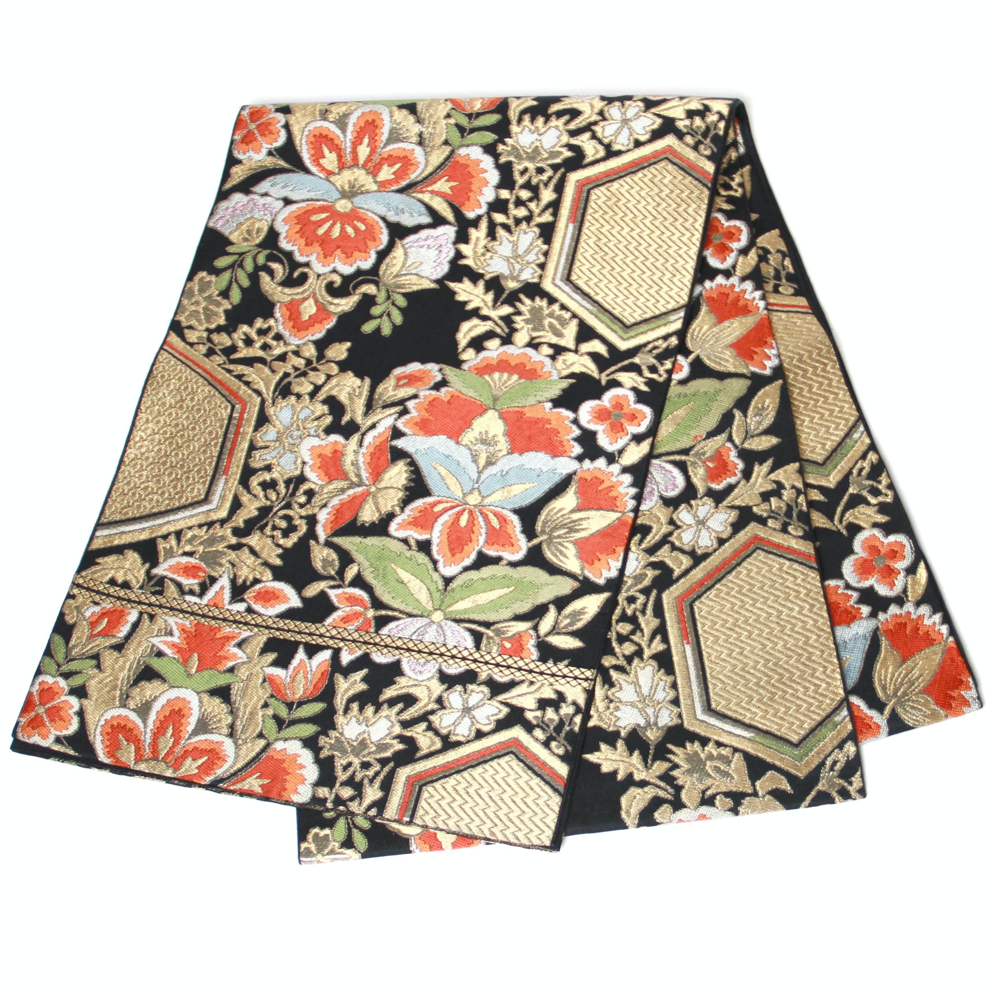 Vintage Floral Patterned Fukuro Obi