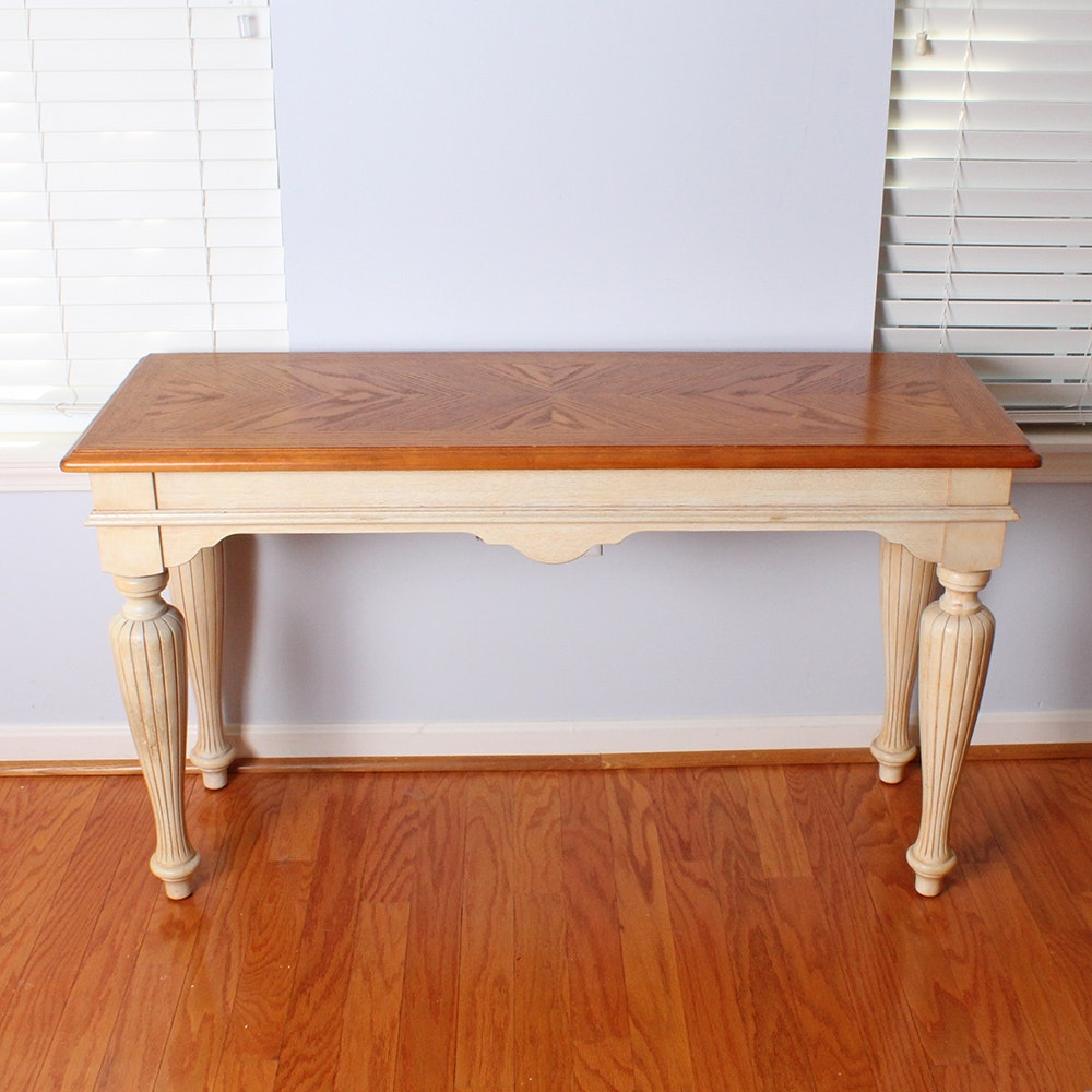 Console Table with Bookmatched Oak Top
