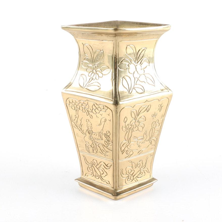 Vintage Chinese Incised Brass Vase Ebth
