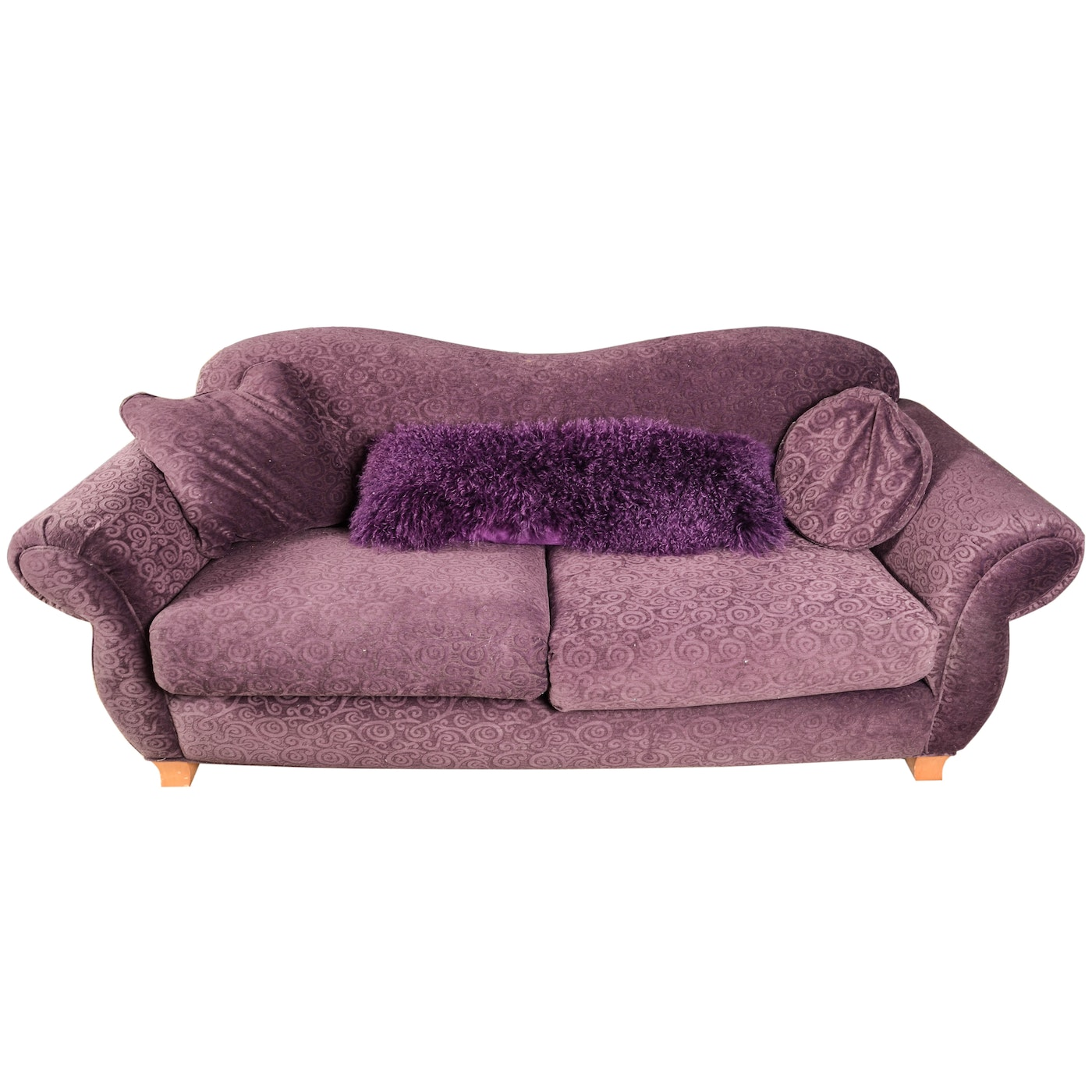 Throw Pillows For Purple Couch : Contemporary Purple Chenille Sofa With Throw Pillows : EBTH