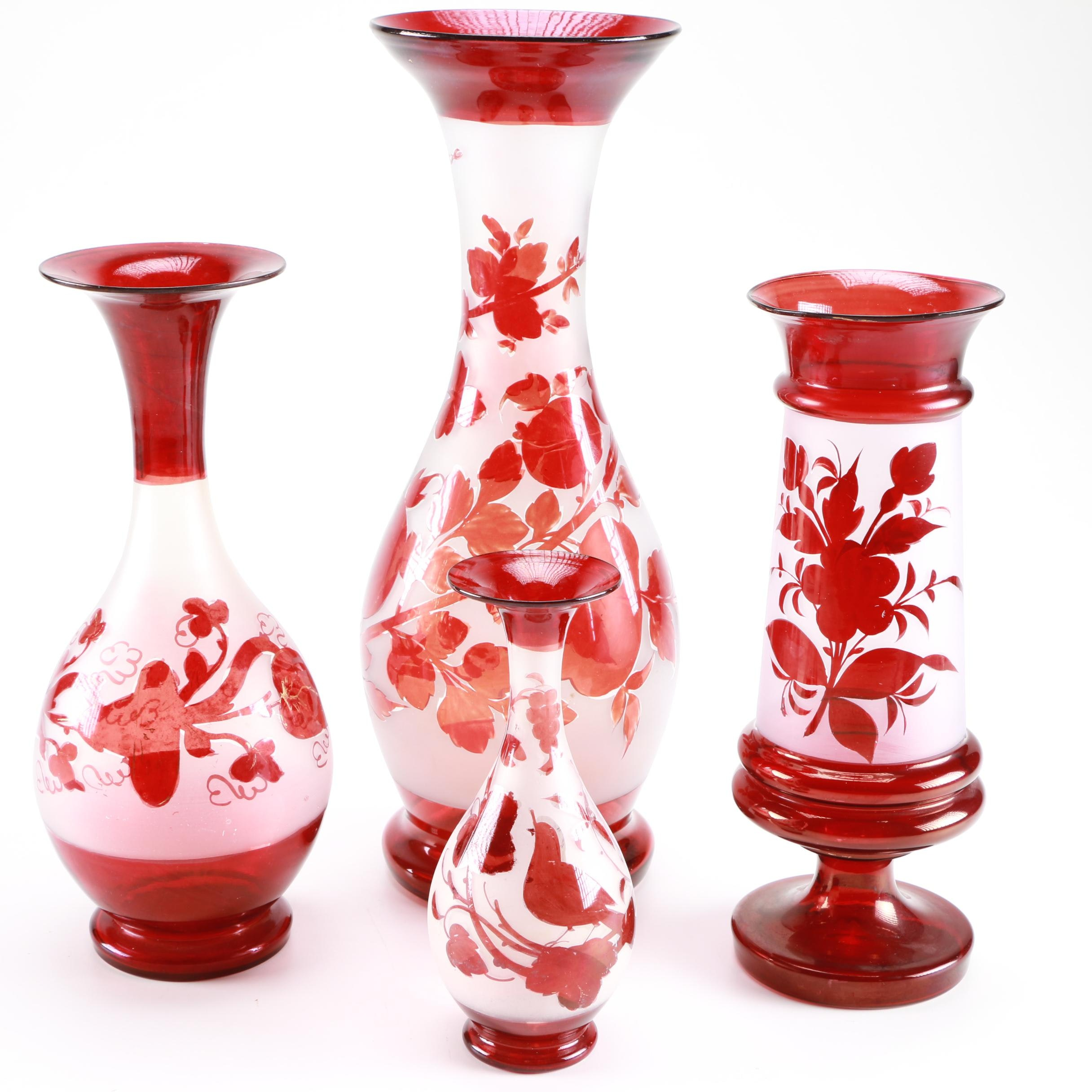 Cut To Clear Floral Glass Vases Ebth