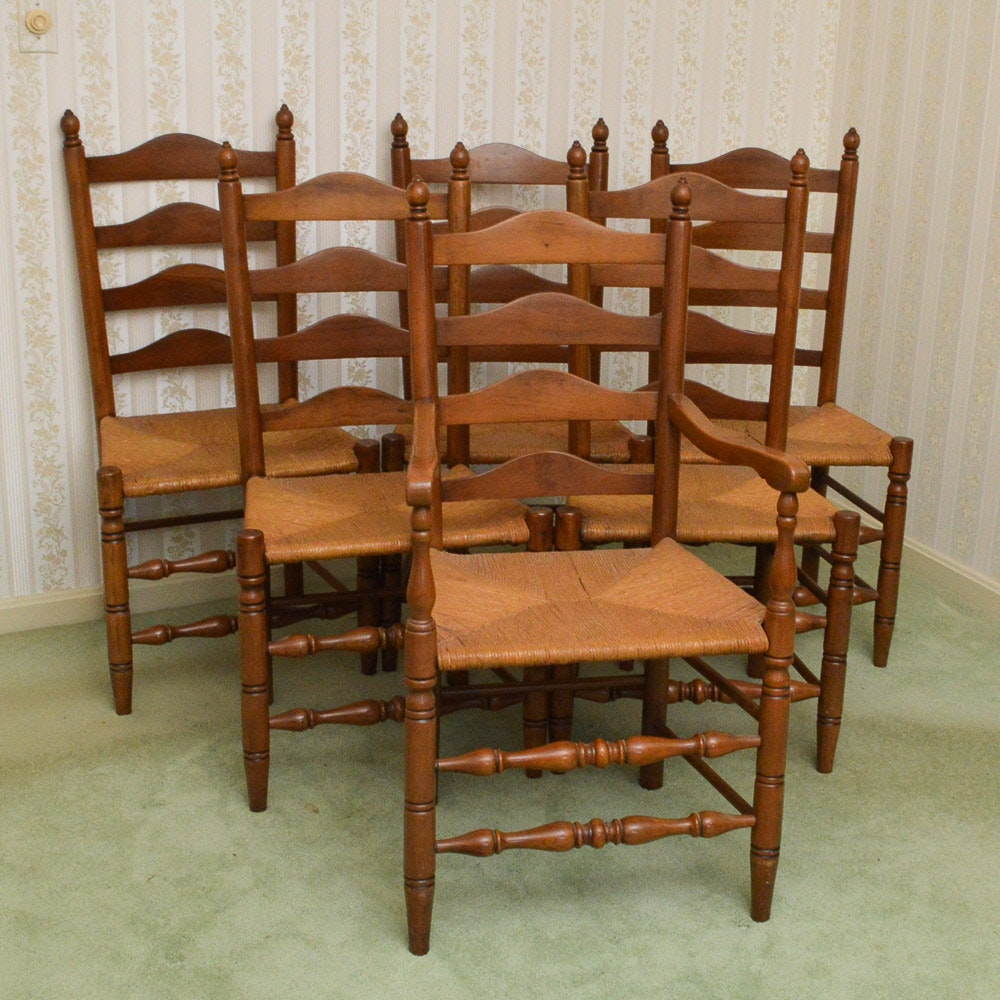 Walnut Ladder Back Chairs With Rush Seats ...