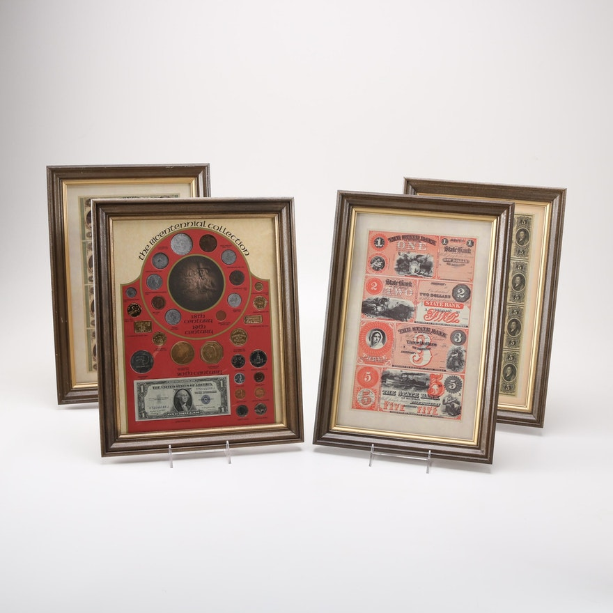 Four Framed Currency and Coin Reproduction Sets : EBTH