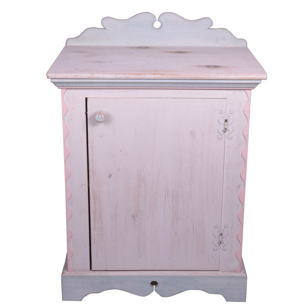 Antique Style Pastel Painted Cabinet