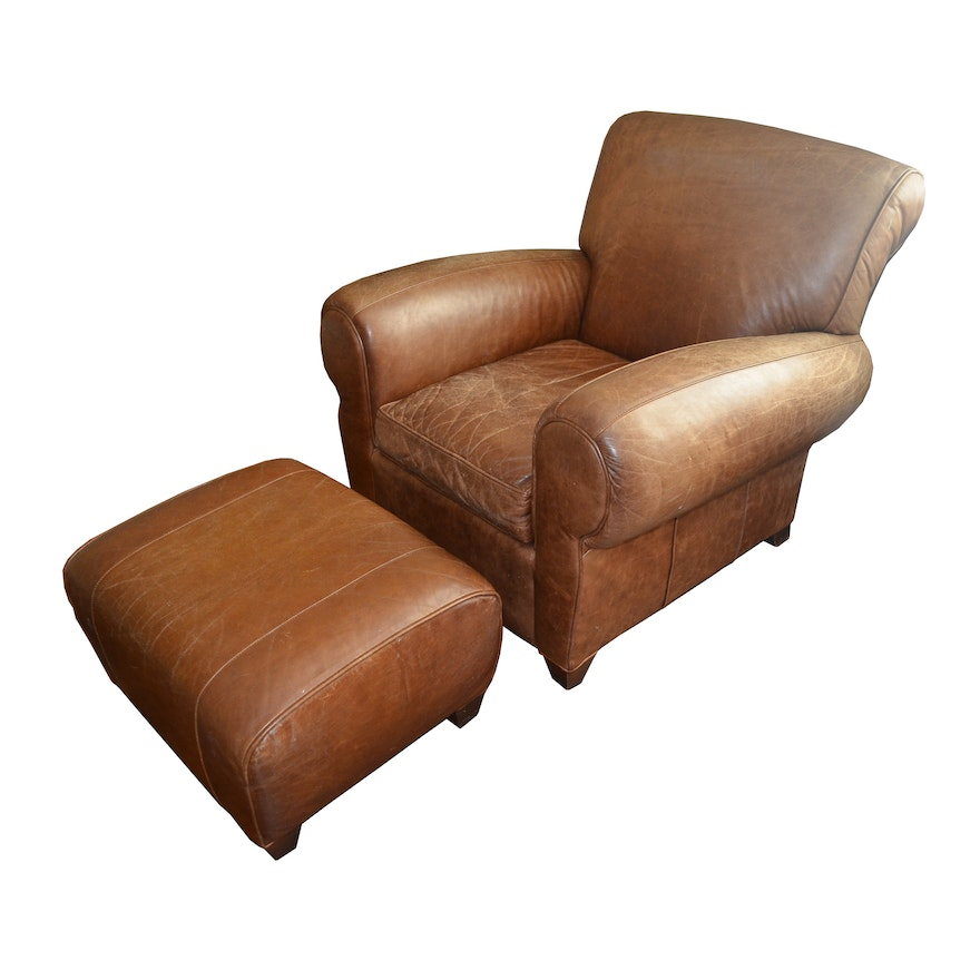 Brilliant Pottery Barn By Mitchell Gold Leather Chair With Ottoman Creativecarmelina Interior Chair Design Creativecarmelinacom