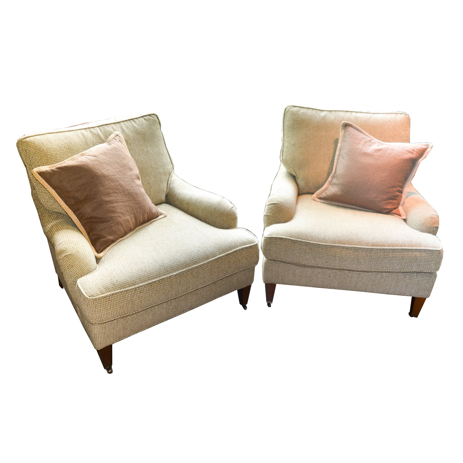 Pair Of Upholstered Club Chairs By Lee Industries ...