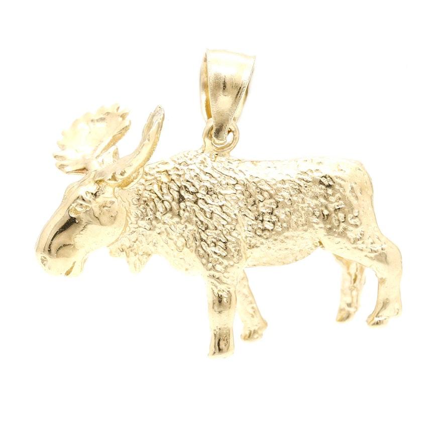 14k yellow gold moose pendant ebth 14k yellow gold moose pendant aloadofball Images