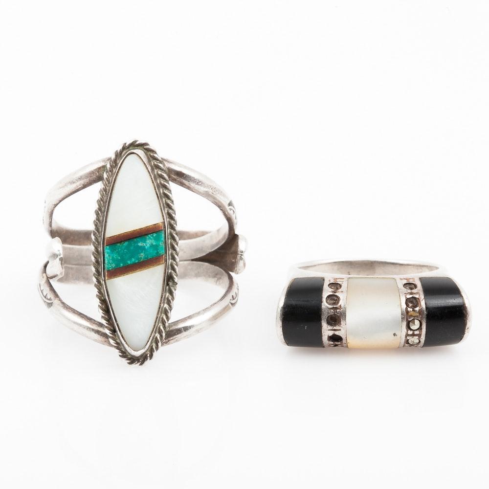 Sterling Silver Gemstone Inlay Rings With Zuni Bennie Bowekaty