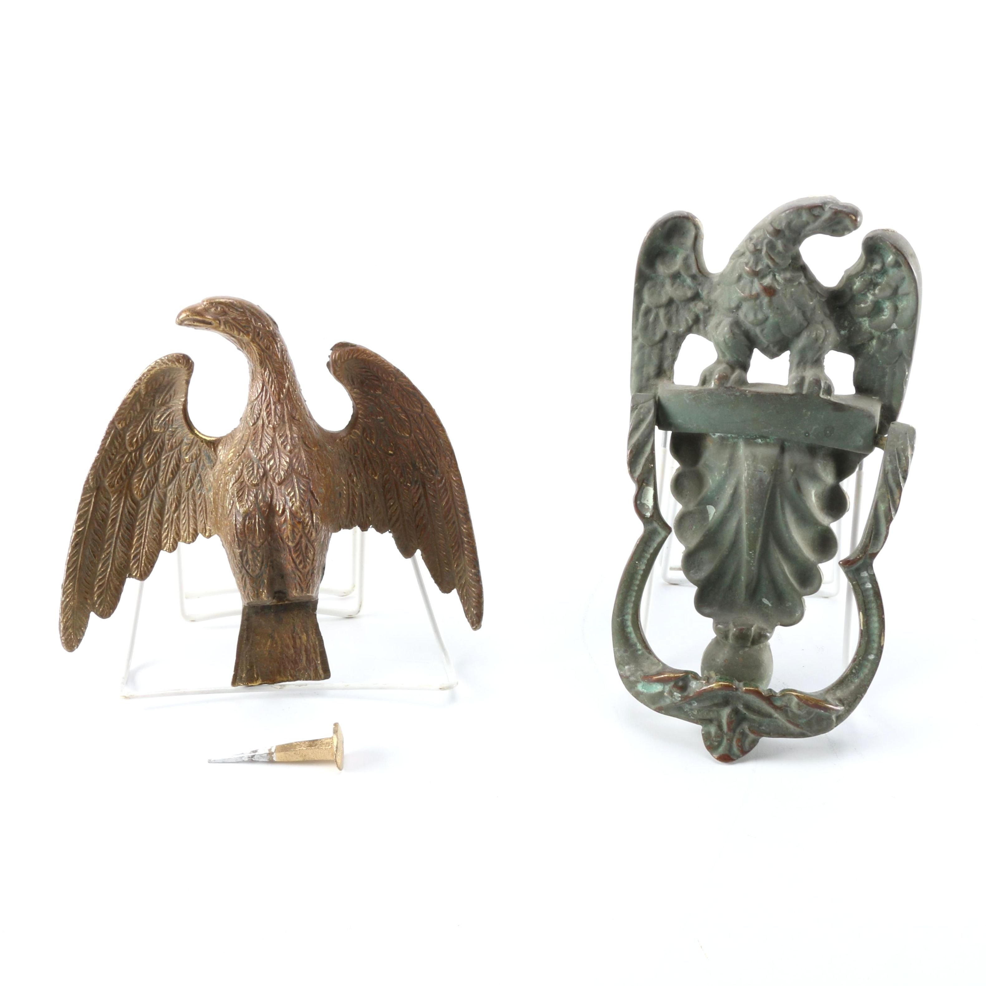 Antique Brass Eagle Flag Topper And Door Knocker ...