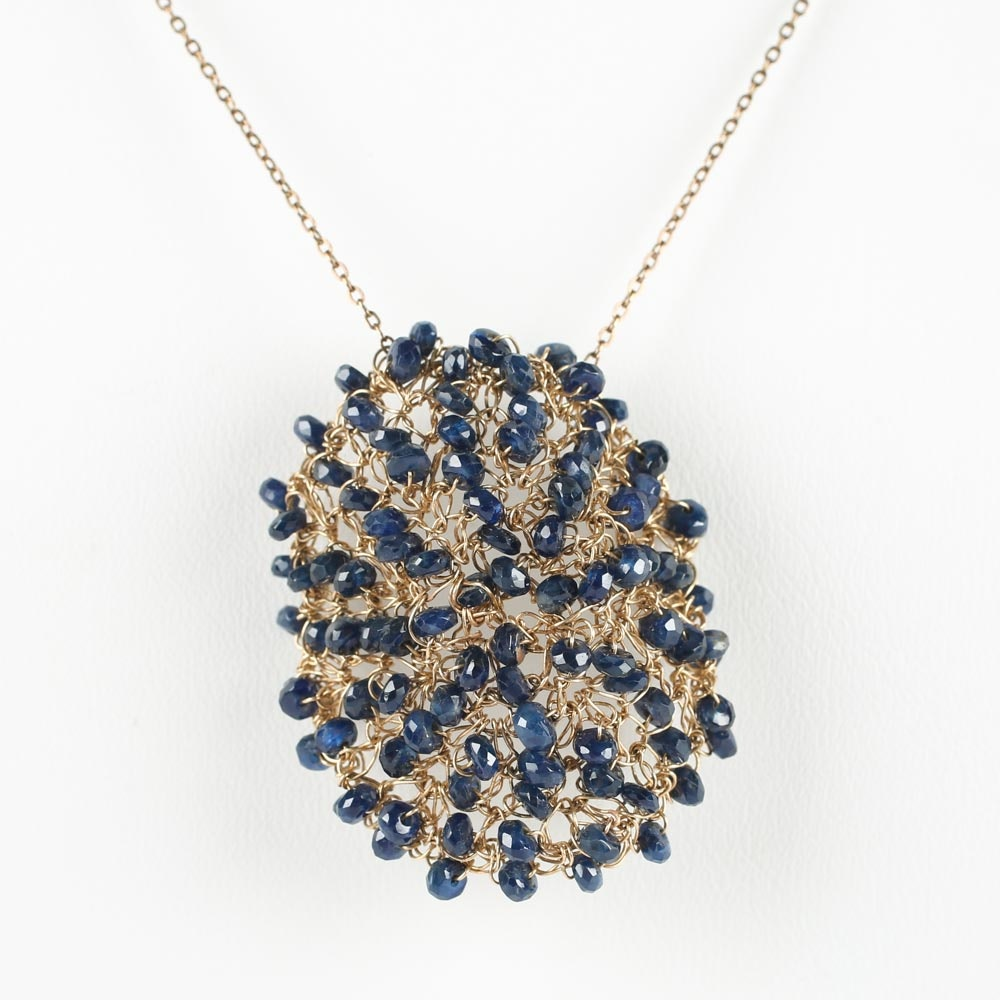 14K Gold and 7.50 CTW Sapphire Mesh Pendant Necklace
