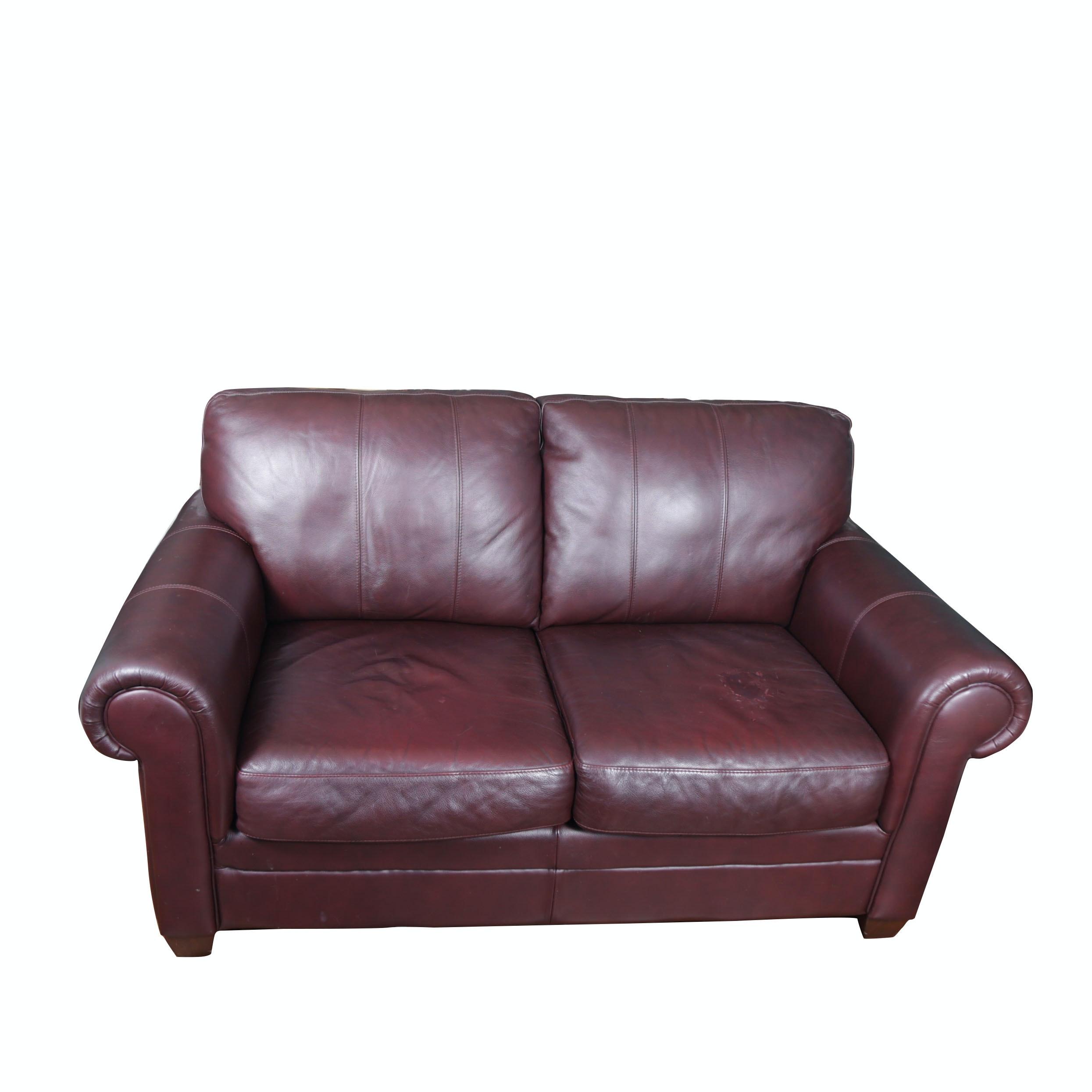 Morse Furniture Faux Leather Loveseat ...