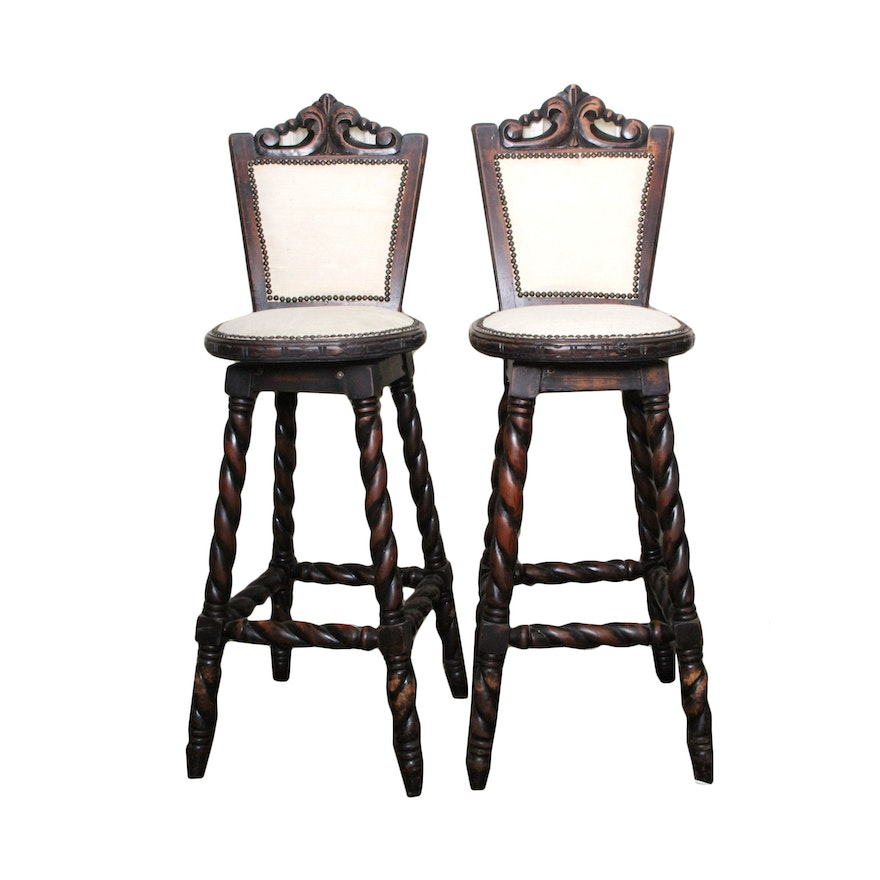 Spanish Mediterranean Bar Stools With Barley Twist Legs