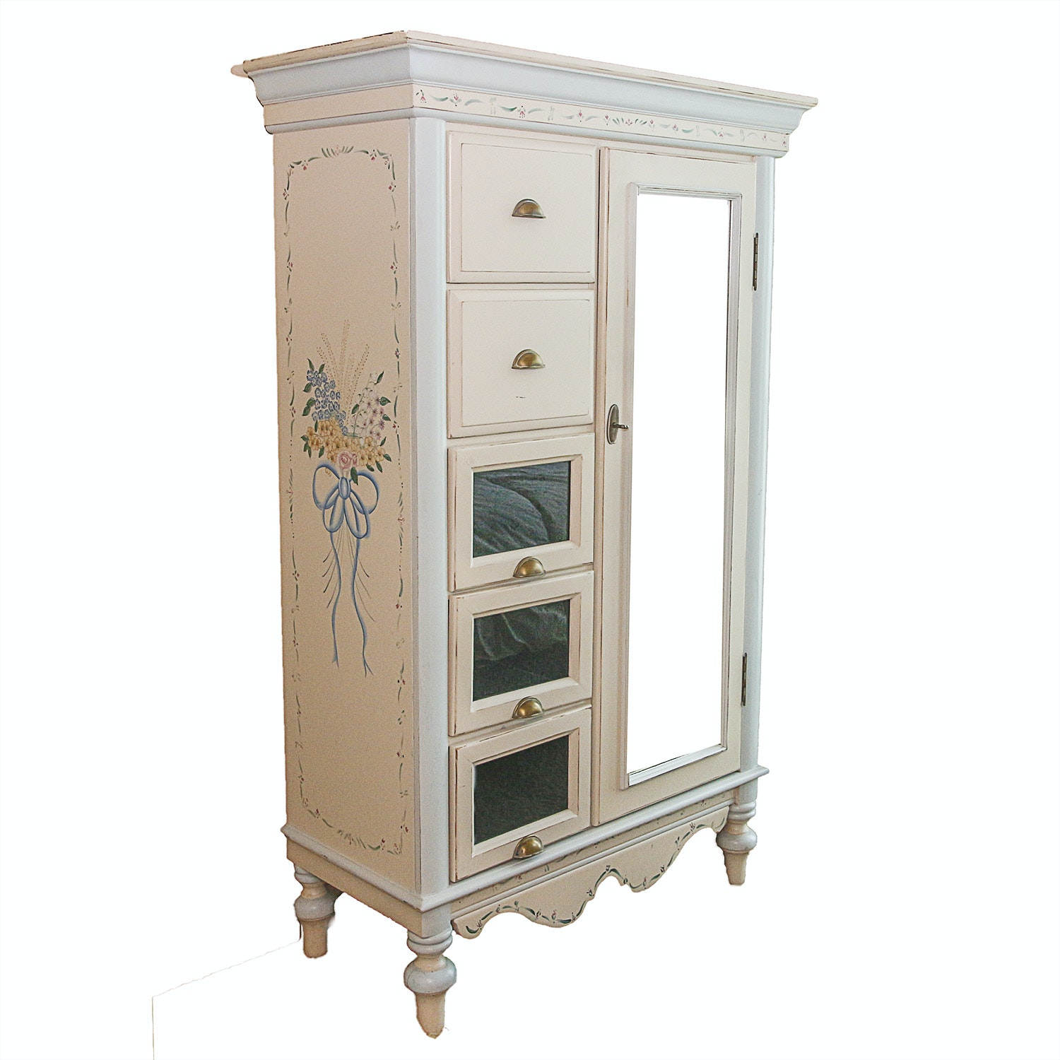 White Wardrobe with Painted Floral Design