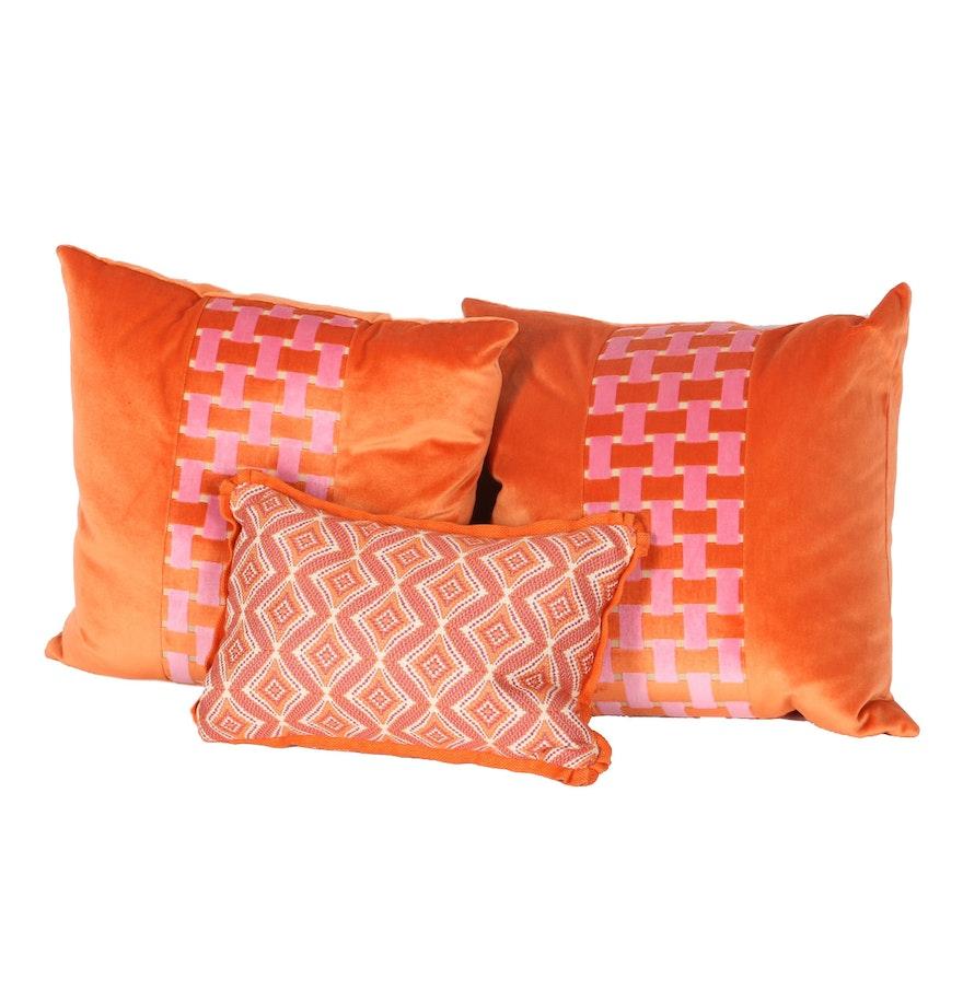 Trio of New Orange Velvet Pillows with Down Inserts : EBTH