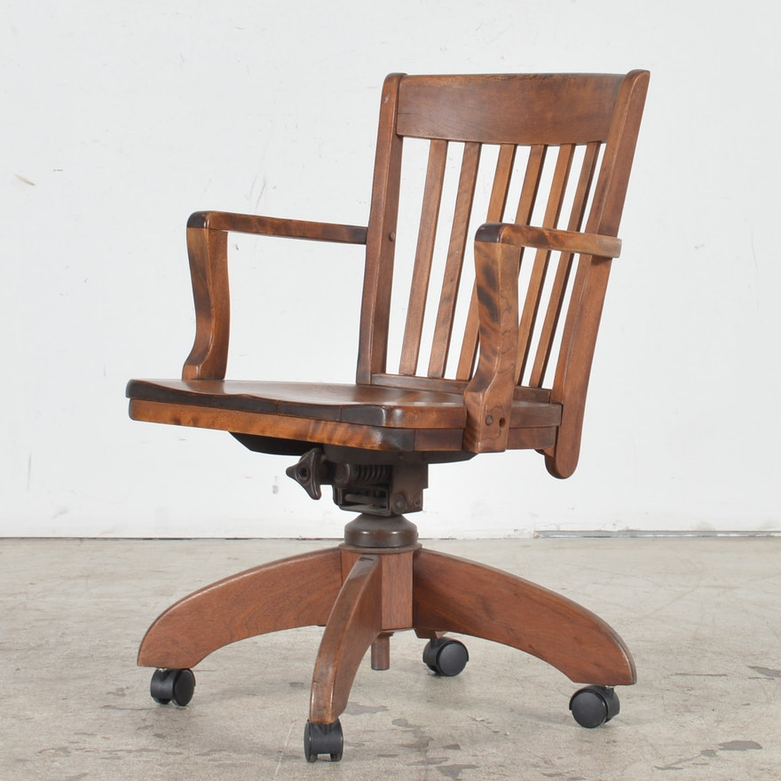 Vintage Oak Desk Chair ... - Vintage Oak Desk Chair : EBTH
