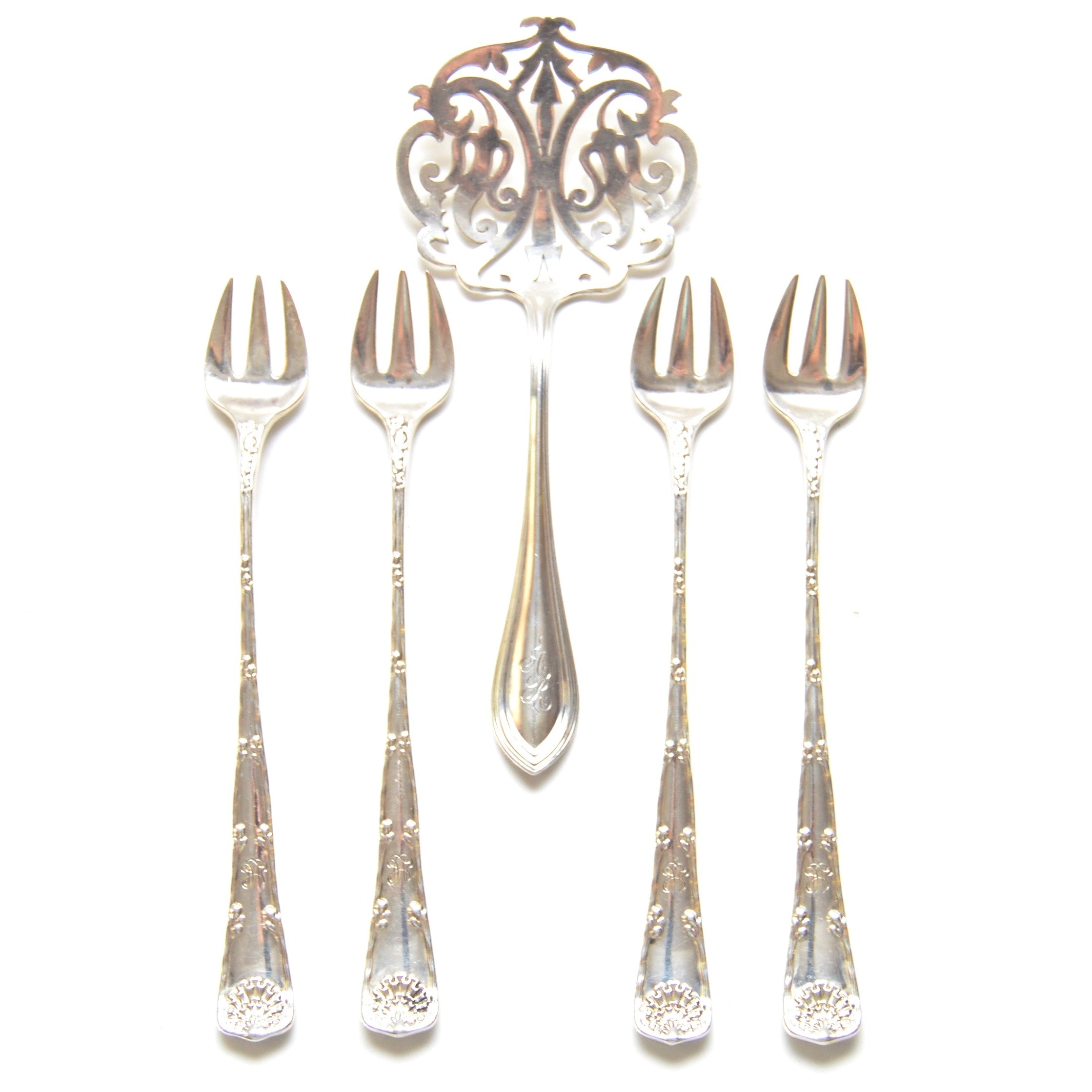Tiffany & Co. Sterling Cocktail Forks and Watson Pierced Server