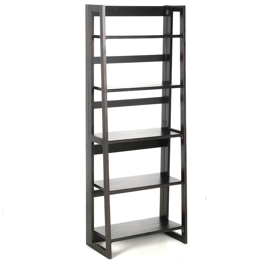 contemporary folding bookcase by pier 1 imports ebth. Black Bedroom Furniture Sets. Home Design Ideas