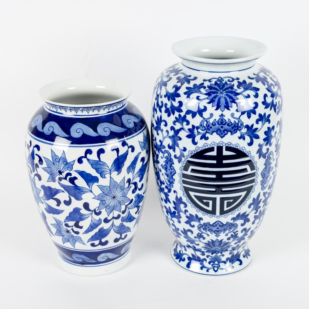 two blue and white chinese ceramic vases
