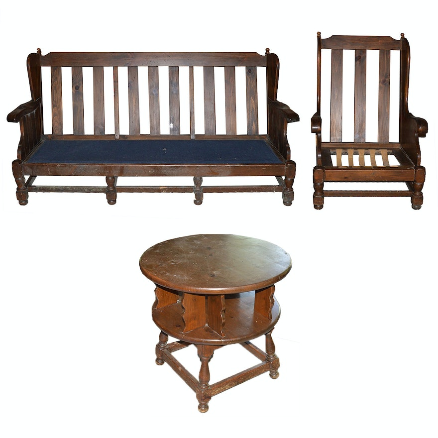 Swell Vintage Old Tavern Wood Sofa Chair And Table By Ethan Allen Gmtry Best Dining Table And Chair Ideas Images Gmtryco