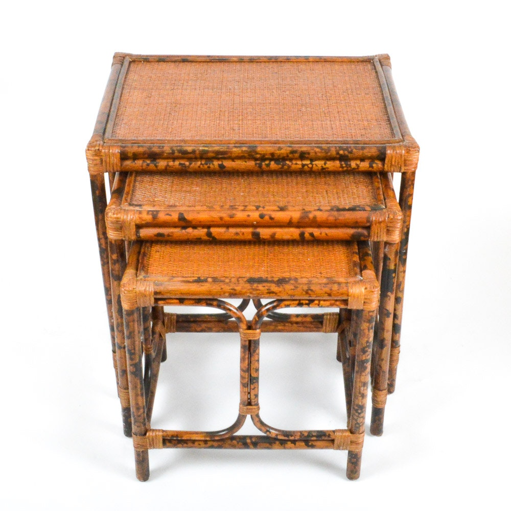 Bamboo And Wicker Nesting Tables ...