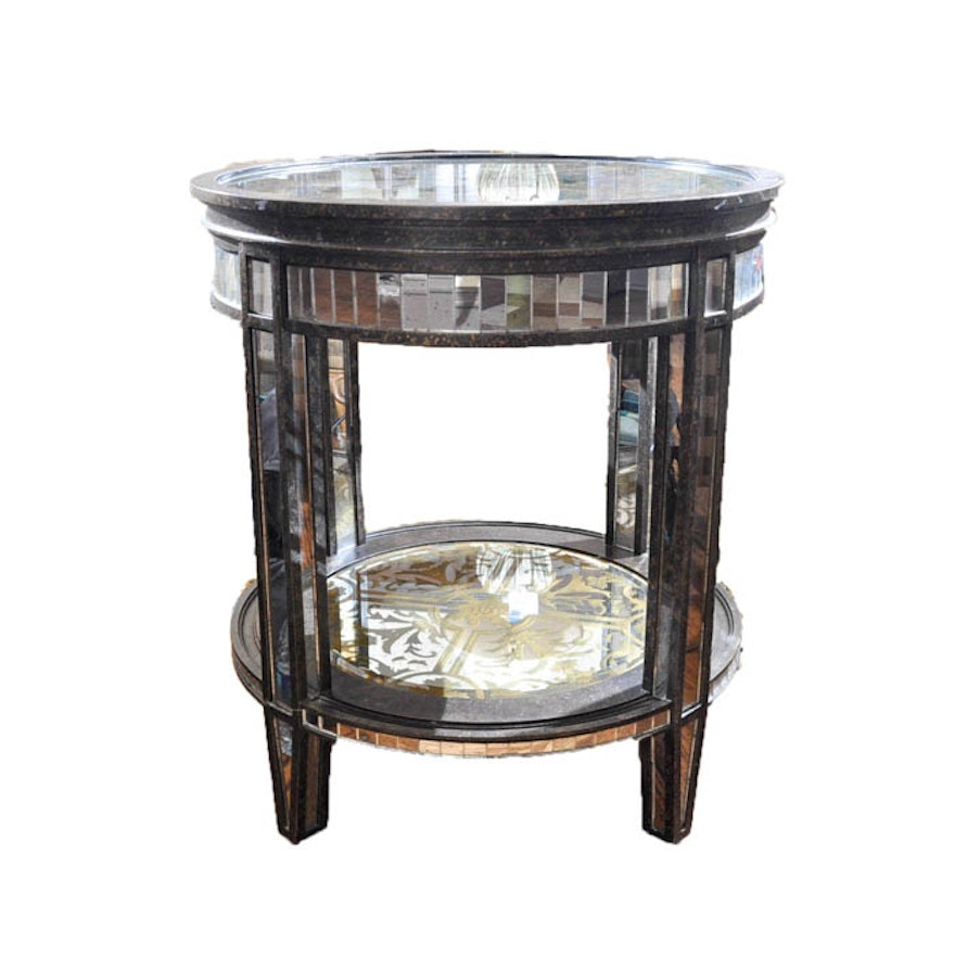 Ornate Mirrored Side Table Ebth