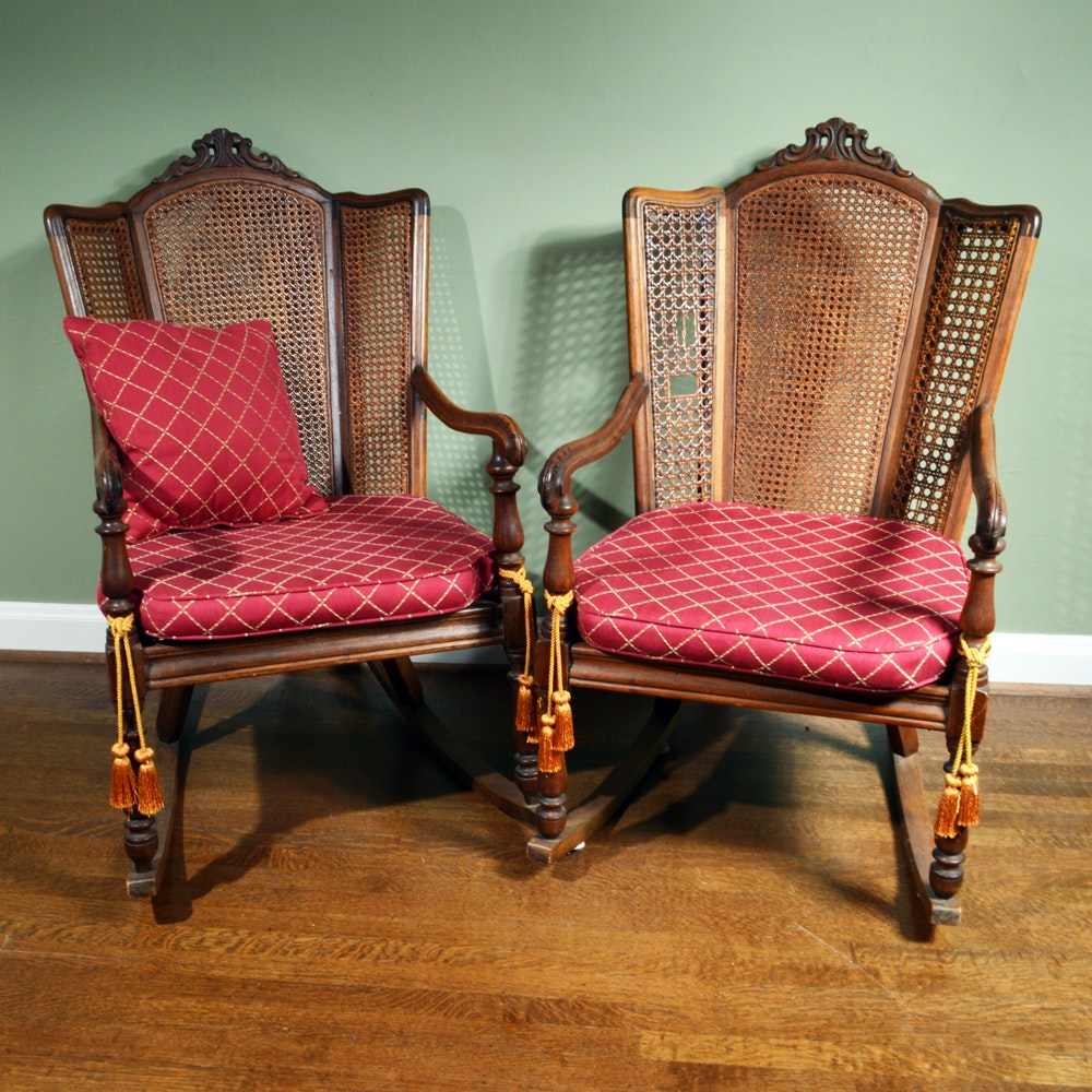 Vintage Caned Wingback Rocking Chairs ...