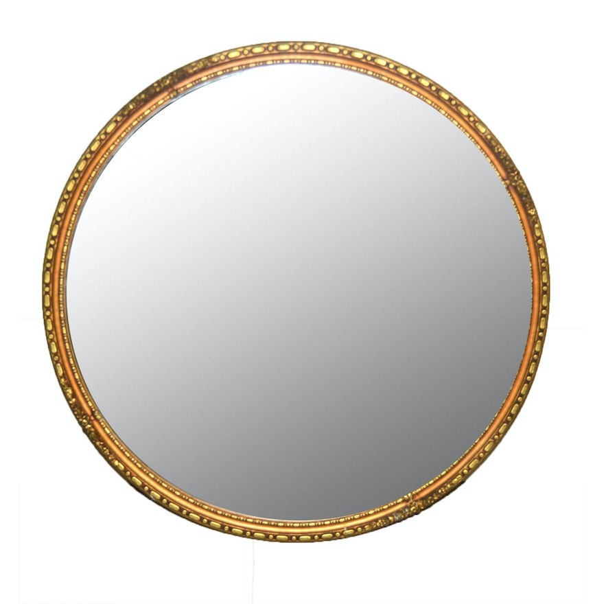 Round Mirror With Gold Tone Frame | EBTH