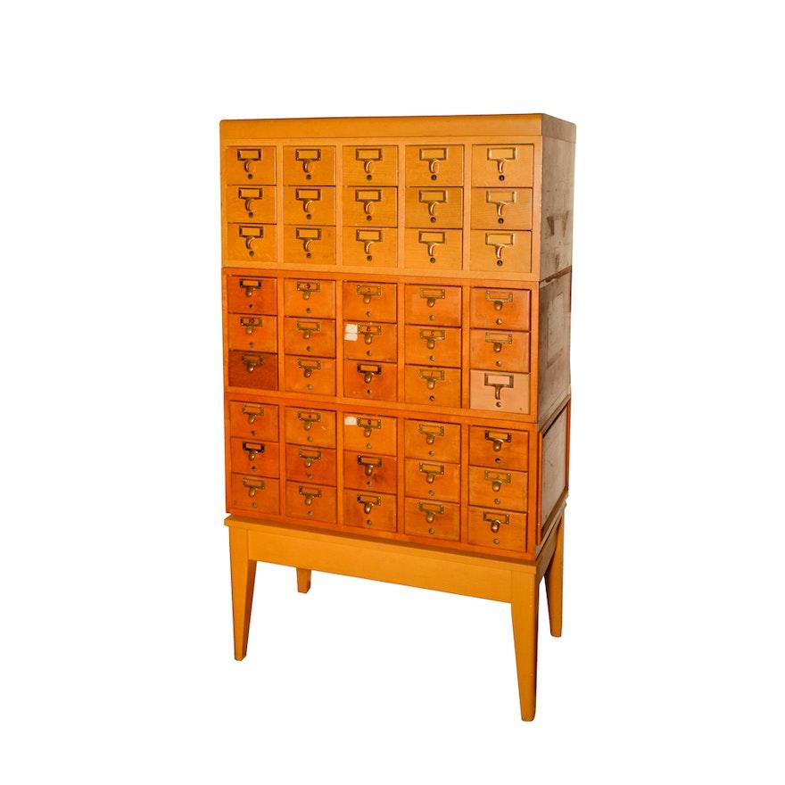 Vintage Library Card Catalog Cabinet ... - Vintage Library Card Catalog Cabinet : EBTH