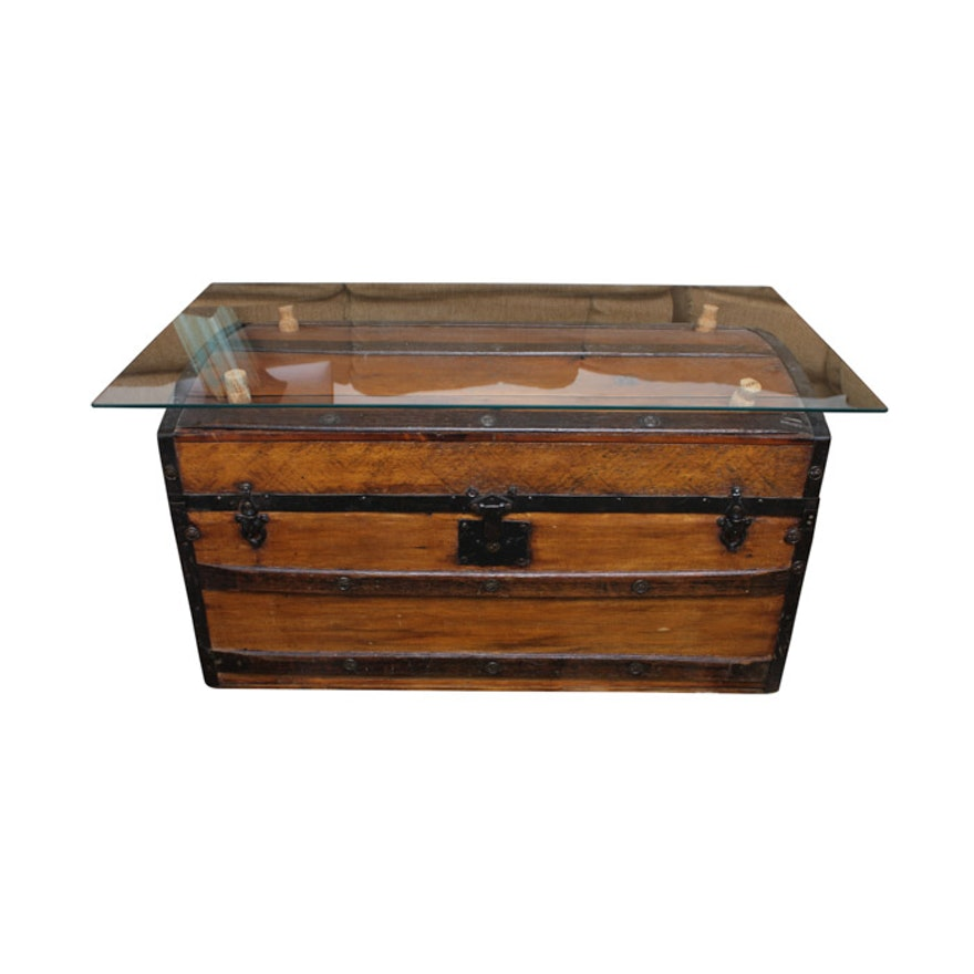 Glass Top Coffee Table With Antique Trunk Base