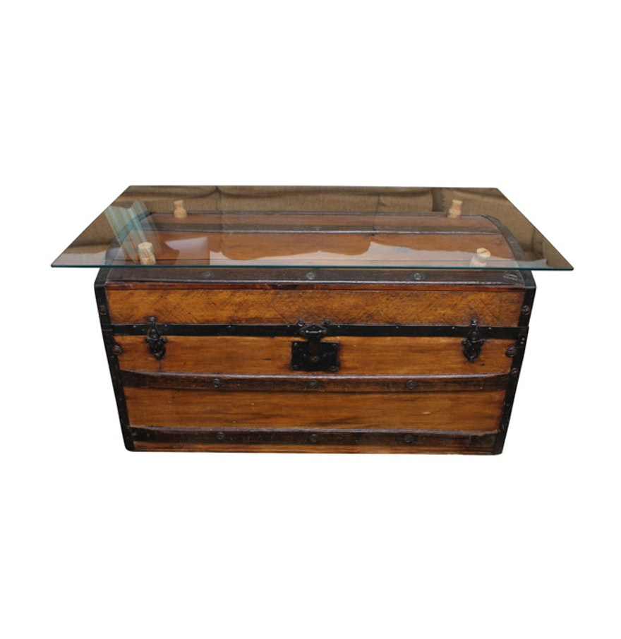 glass top coffee table with antique trunk base ebth