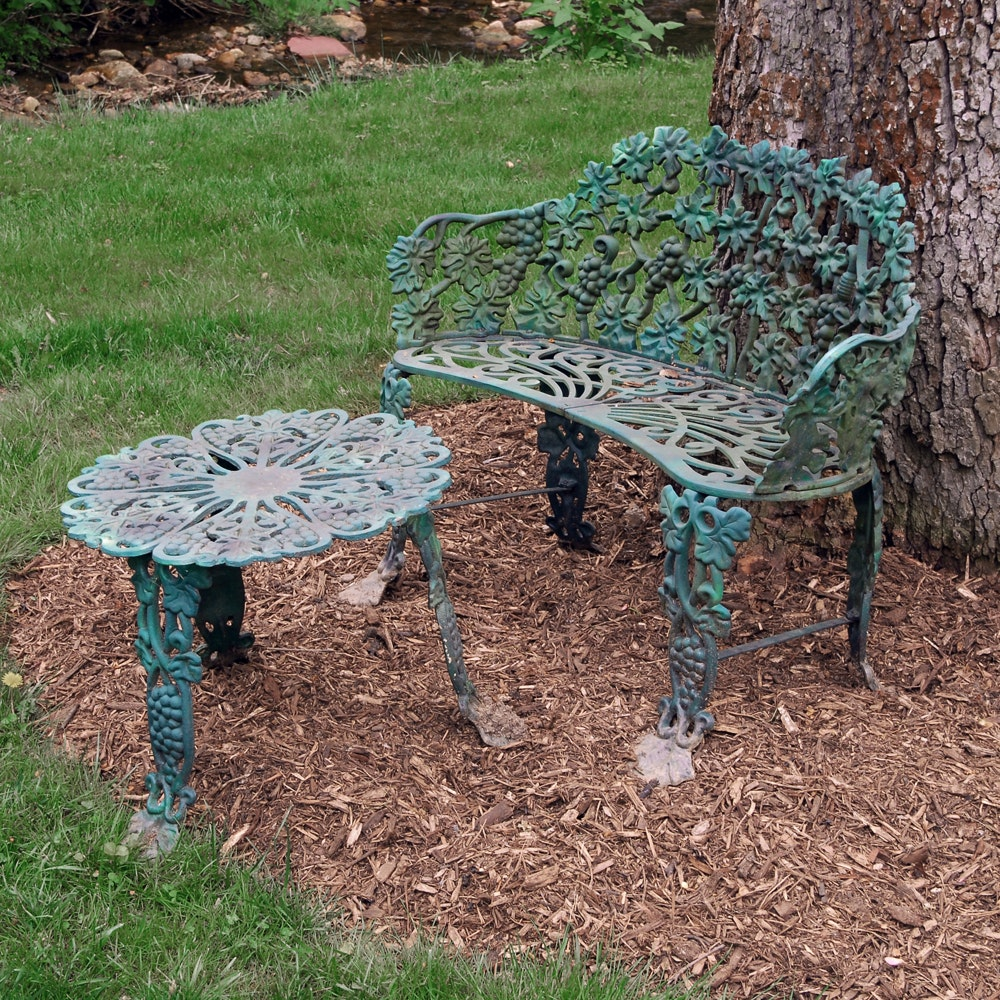 Hart Cast Iron Grapevine Motif Bench And Side Table ...