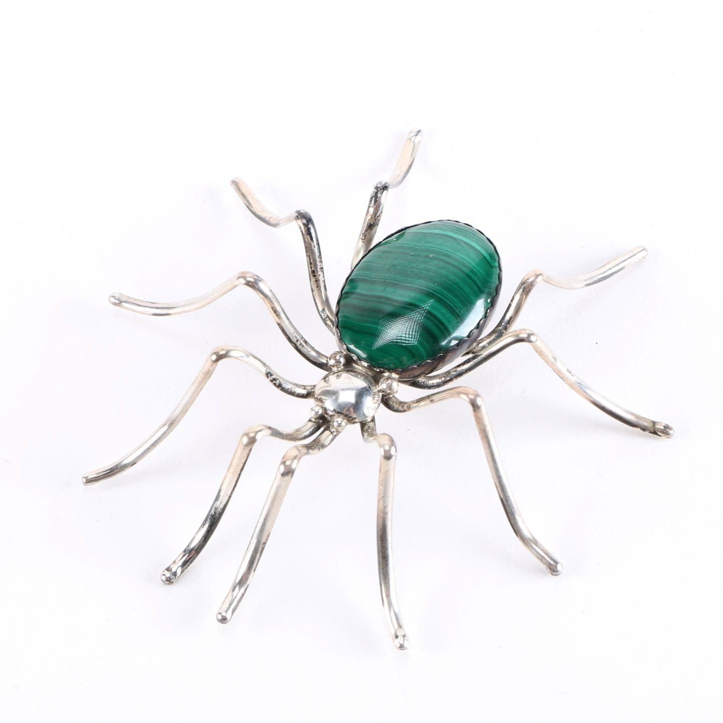 Sterling Silver Malachite Spider Brooch by E. Spencer