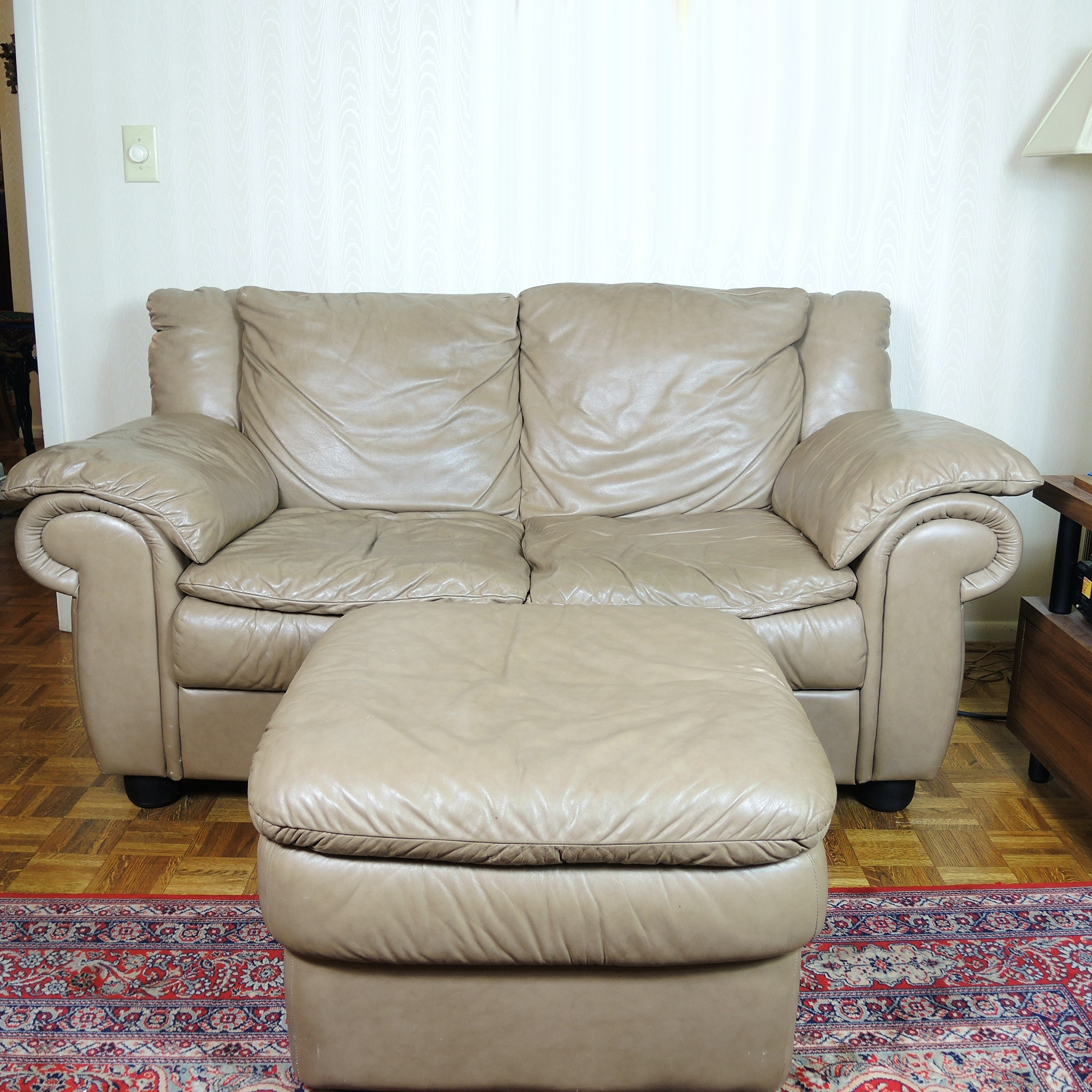 Genuine Leather Sofa and Matching Ottoman