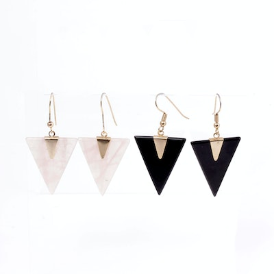 Vintage Gold Plated Earrings with Black Onyx and Rose Quartz