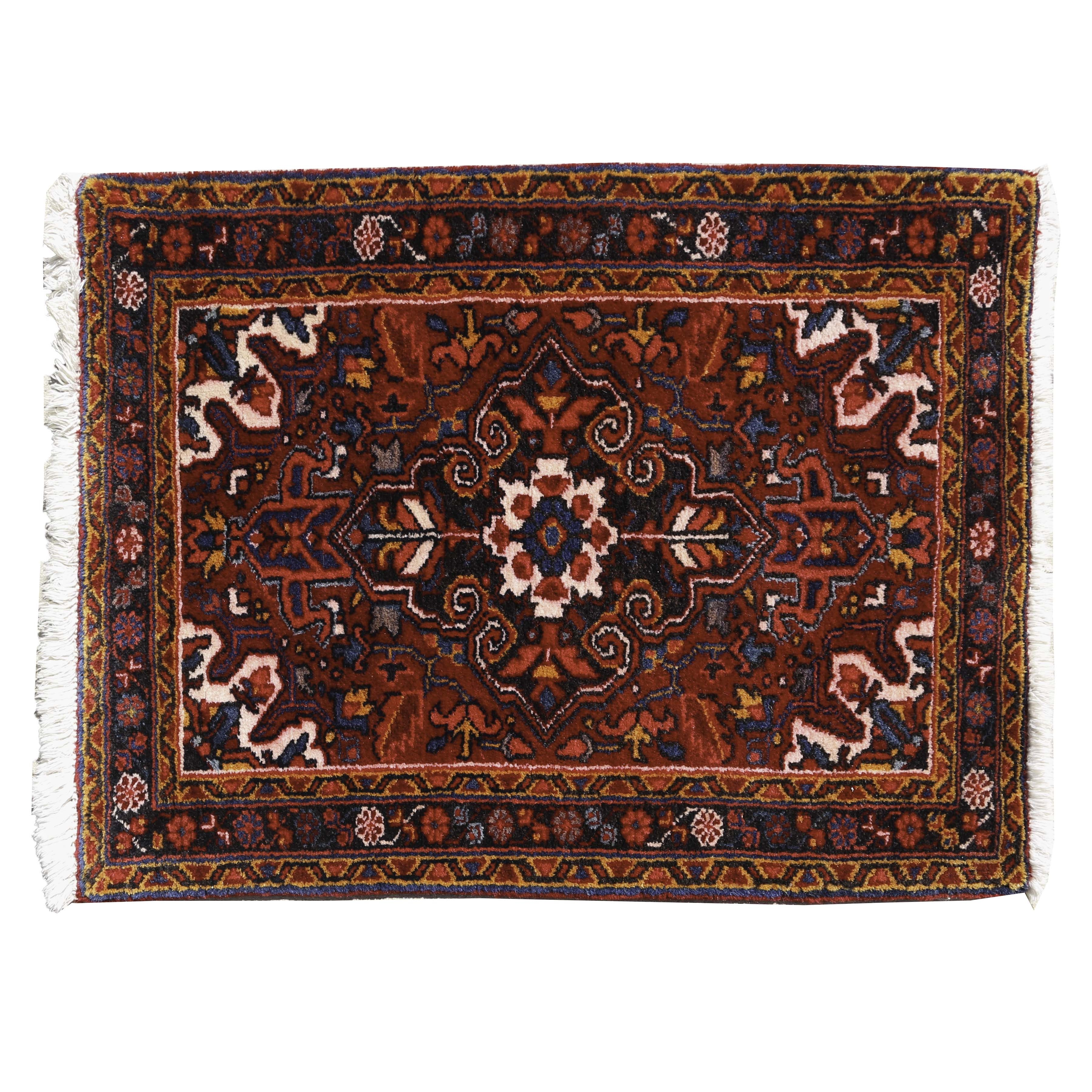 Hand-Knotted Malayer Heriz Wool Accent Rug