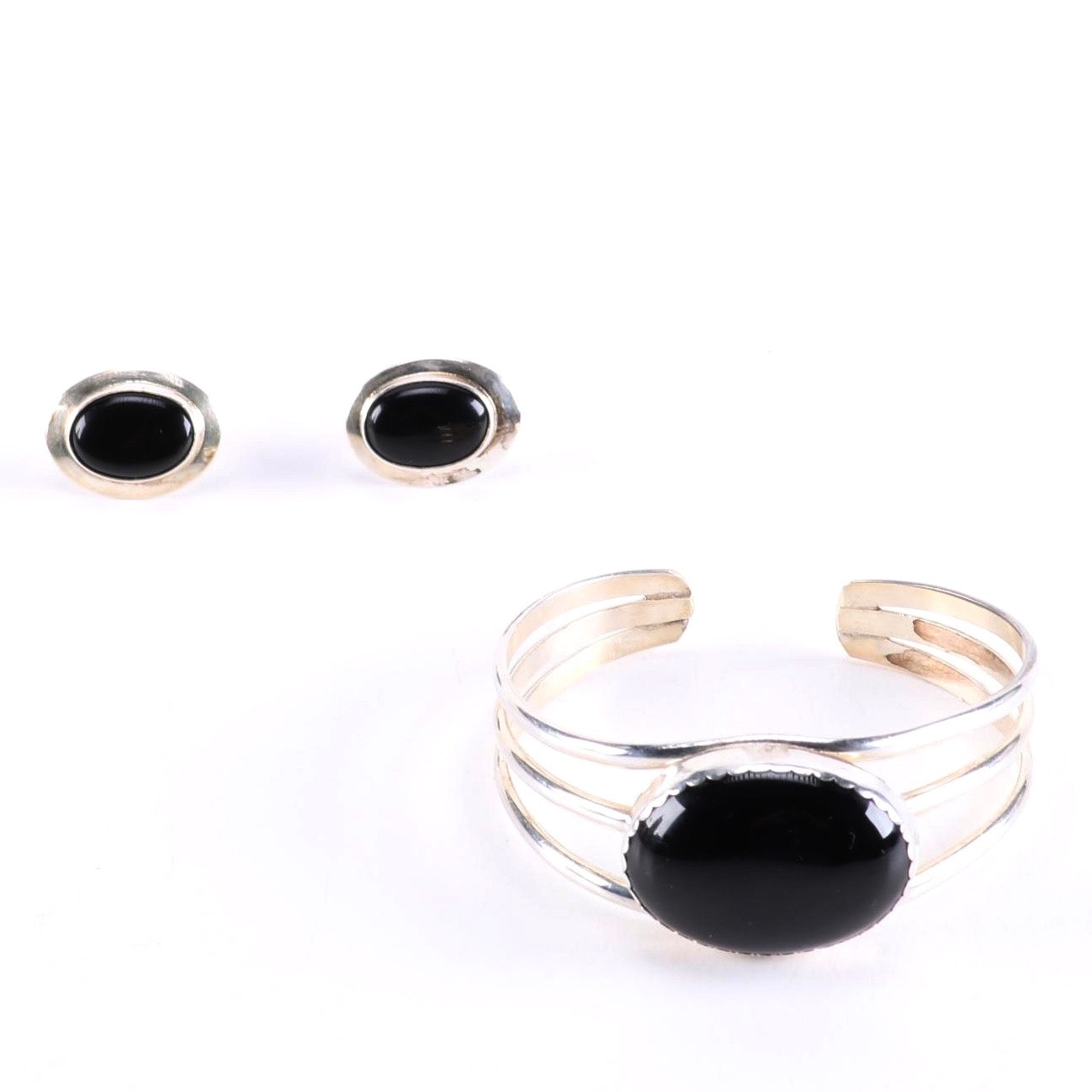Sterling Silver and Onyx Demi Parure