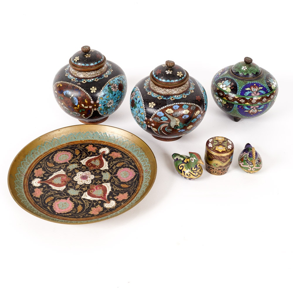 Collection of Asian Colorful Enameled and Cloisonné Brass Decor