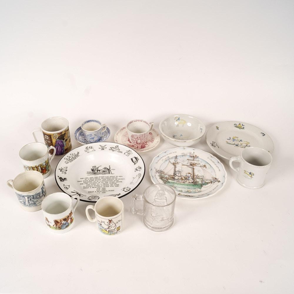 Variety of Vintage Children's Dishes