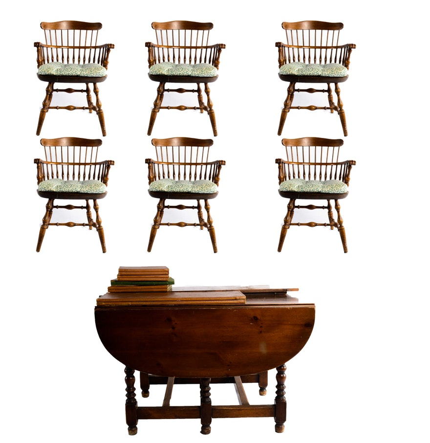 Pine gateleg table with six maple nichols and stone chairs ebth - Gateleg table and chairs ...