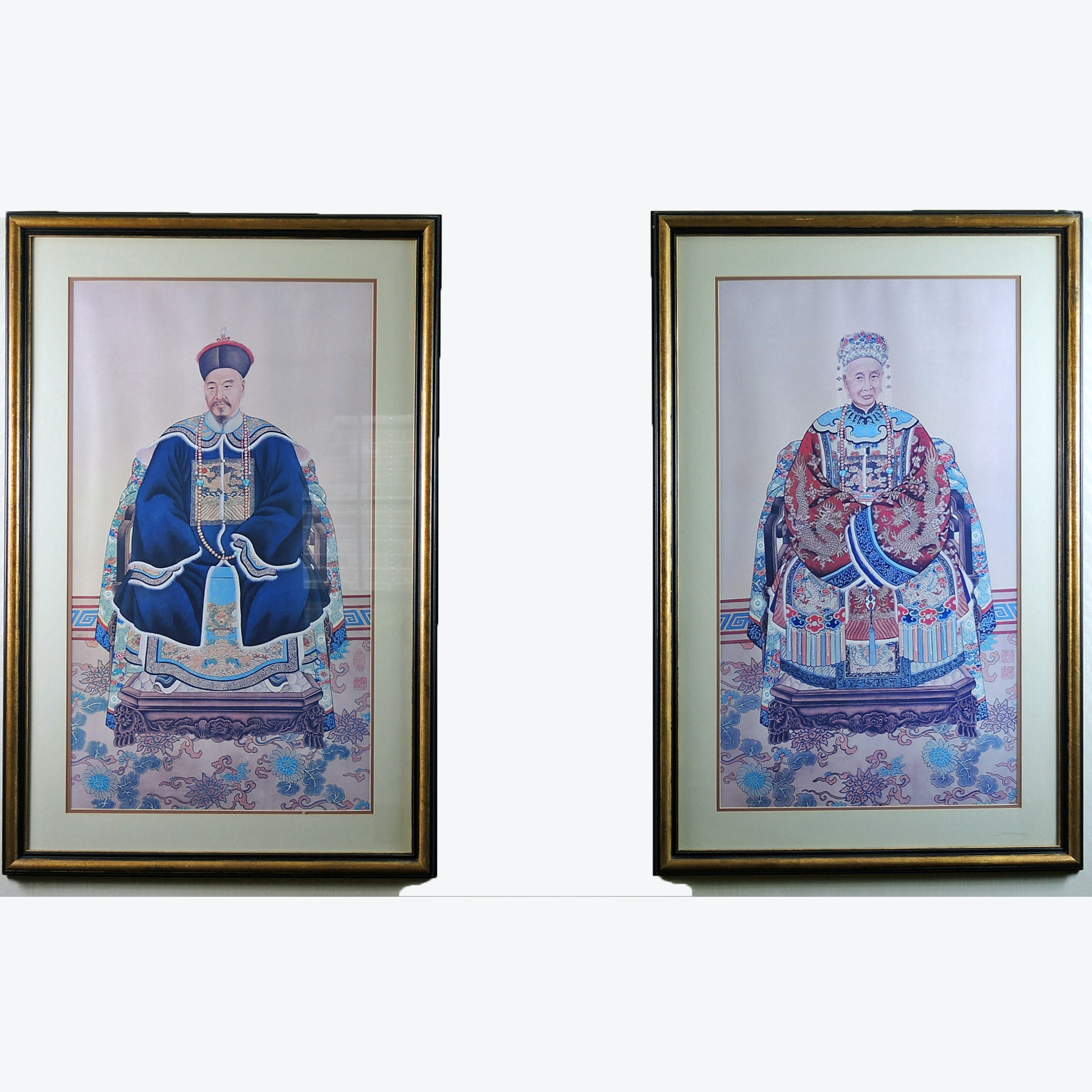 Pair of Chinese Ancestor Portrait Offset Lithographs