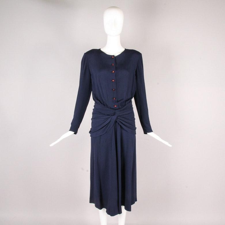 Vintage Chloé of Lagerfeld Era Navy Dress
