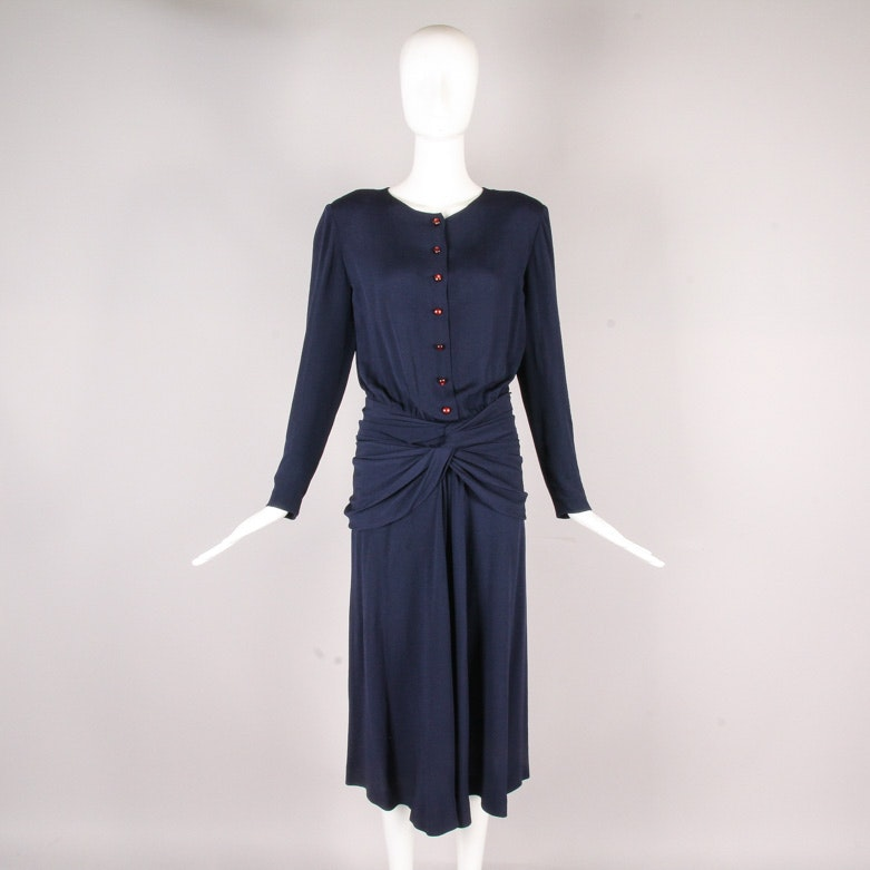 Vintage Chloé of Lagerfeld Era Navy Dress