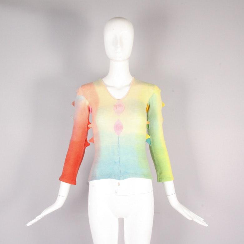 1970's Handcrafted Rainbow Sweater