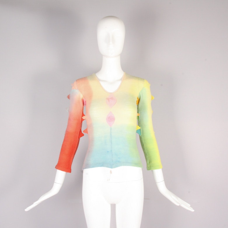 1970's Handcrafted Rainbow Sweater