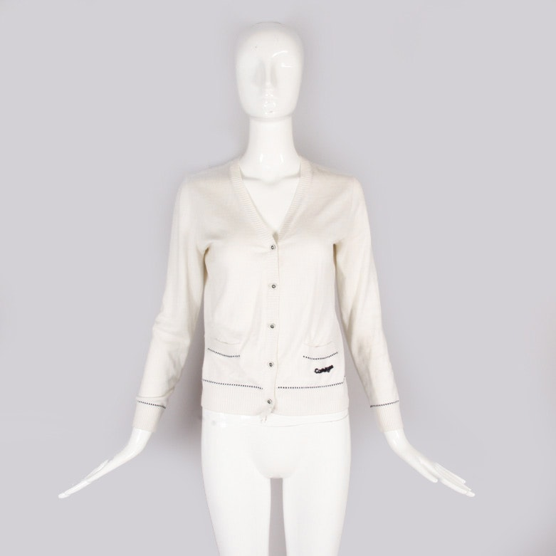 Vintage Courreges White Fitted Cardigan