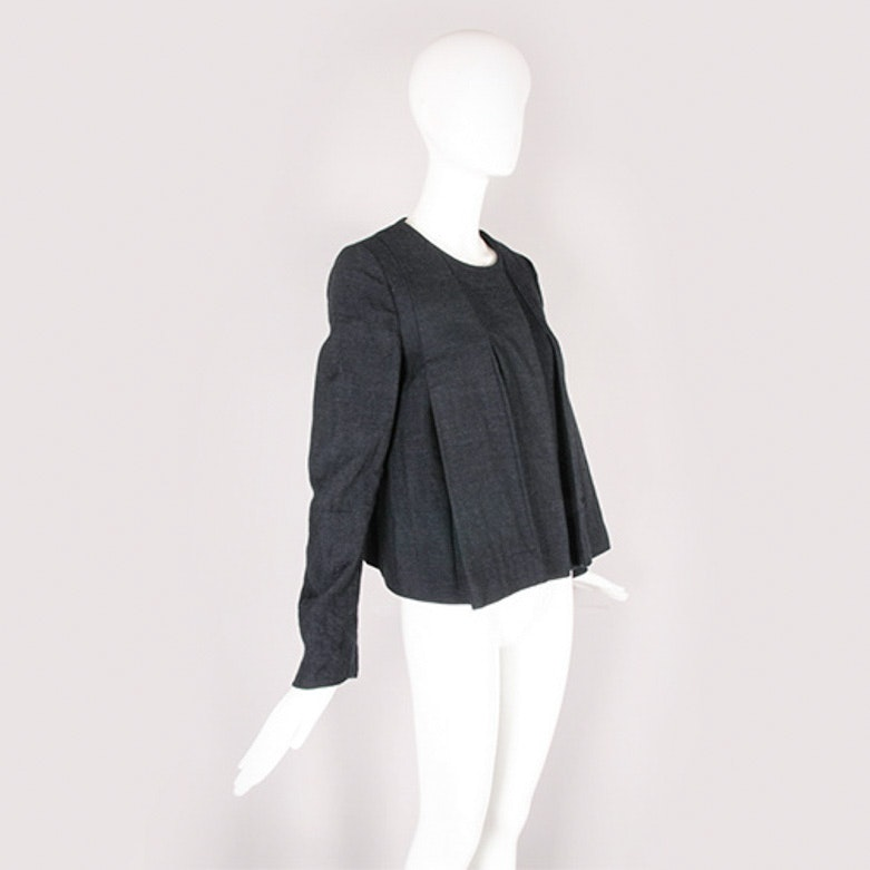 Marni Charcoal Gray Pleated Wool Jacket