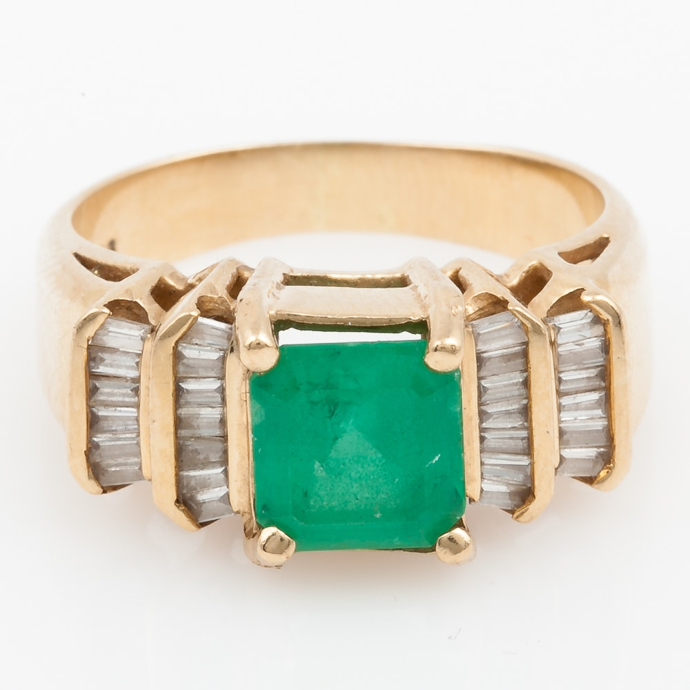 14K Yellow Gold, Emerald, and Baguette Diamond Ring