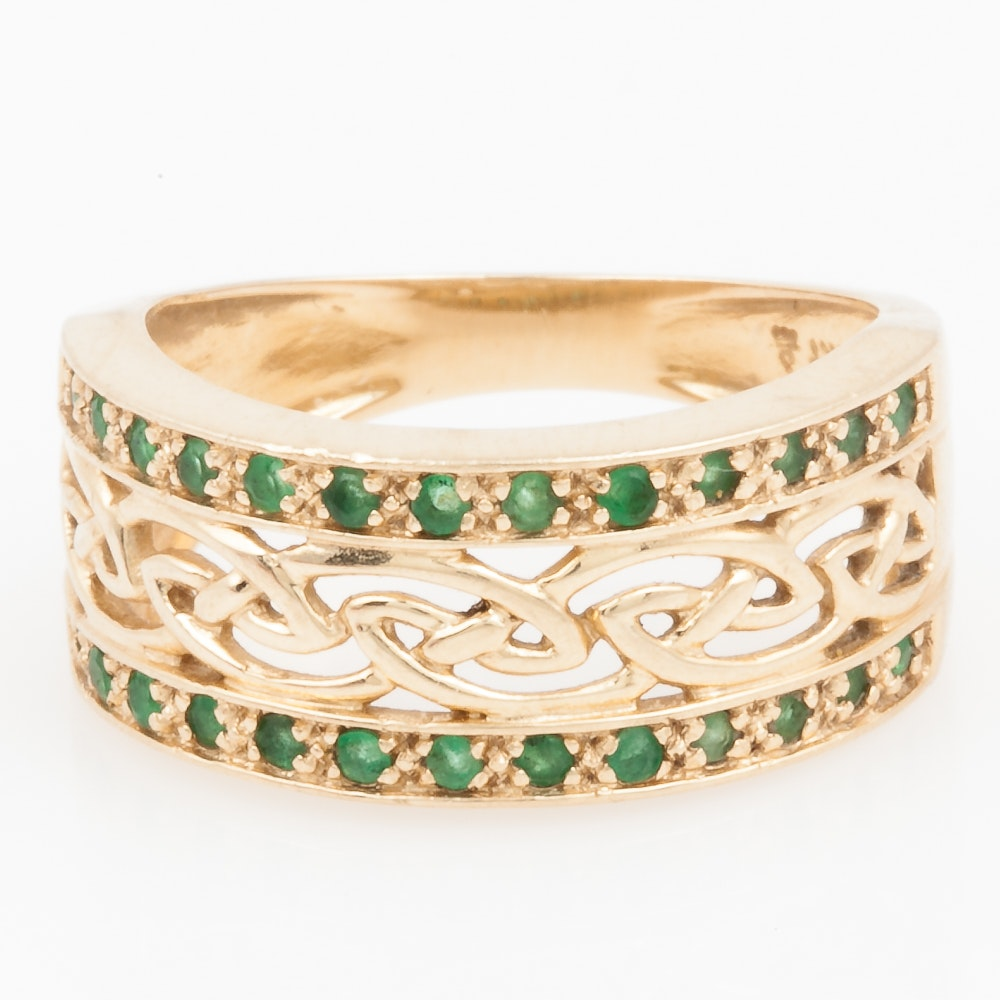 14K Yellow Gold and Emerald Woven Band